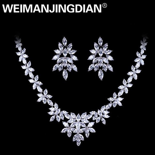 White Gold Color Plated Cubic Zirconia Floral Design Zircon CZ Necklace & Earring Wedding Jewelry Sets