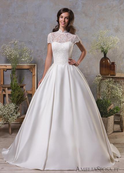 High Neck Wedding Dresses with Short Sleeve vestidos de novia 2019 Princess Lace Satin Bridal Gowns Ball Gown Plus Size Formal Dress