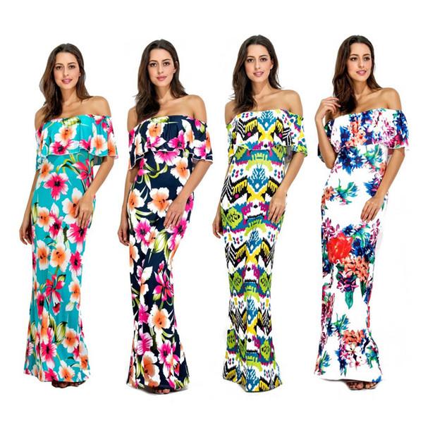 Cheap Autumn Maxi Floral Printed Dresses Women Long Dresses 2019 Off The Shoulder Beach Dress Sheath Bodycon Plus Size S-5XL