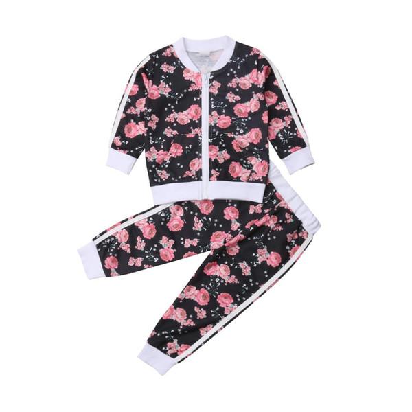 Nova Arrivels Criança Criança Bebê Menina Floral Tops Calças Treino Sportswear Outfits Playsuit