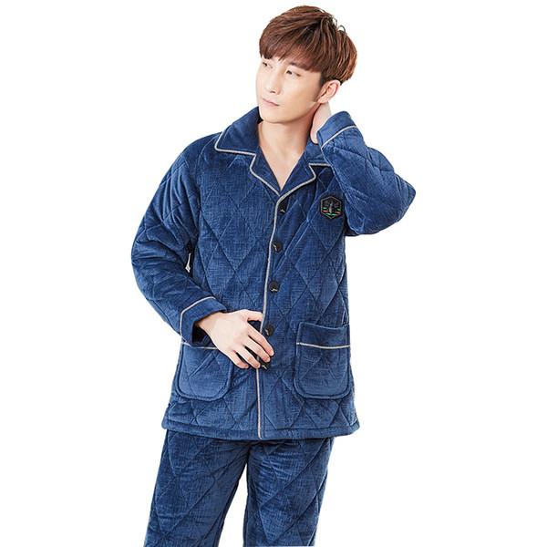 J&Q new pjs men thick mens fleece pajamas warm pijama hombre winter suit pajama classy home wear leisure solid brand pajama set