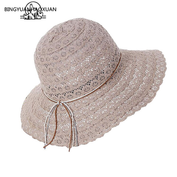 BINGYUANHAOXUAN 2018 New Bowknot Summer Women's Foldable Wide Large Brim Elegant Sun Hat Ladies Lace Hollow Straw Beach Caps #47528