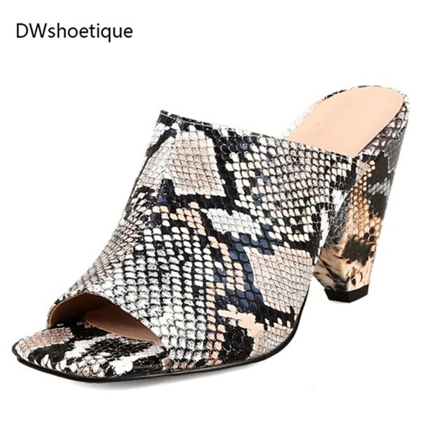2019 Summer Women Mules Fashion Snake Shoes Women Summer Slippers Outdoor 8 Cm High Heels Big Size Shoes Ankle Boots For Women Italian Shoes From