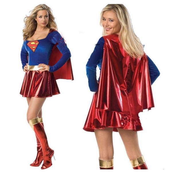 Supergirl Косплей костюмы Одежда Супер женщина сексуальное Костюмированный с Boots GirlsHalloween костюмы