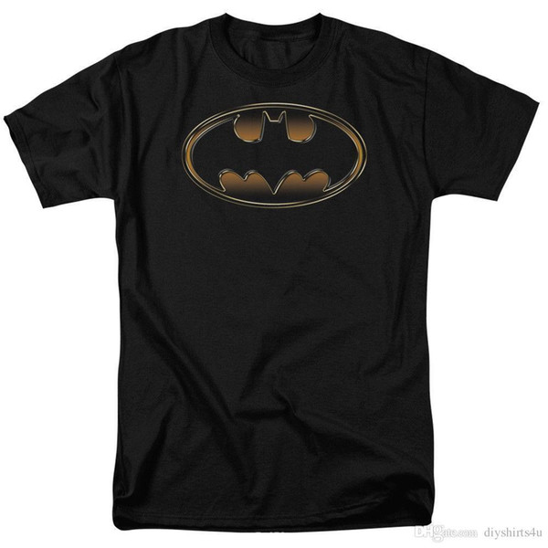 Factory Outlet Bat Shield Logo Black And Gold Embossed Support Dropship Licensed Adult T Shirt T Shirt Men Cool Short Sleeve Fashion Custom