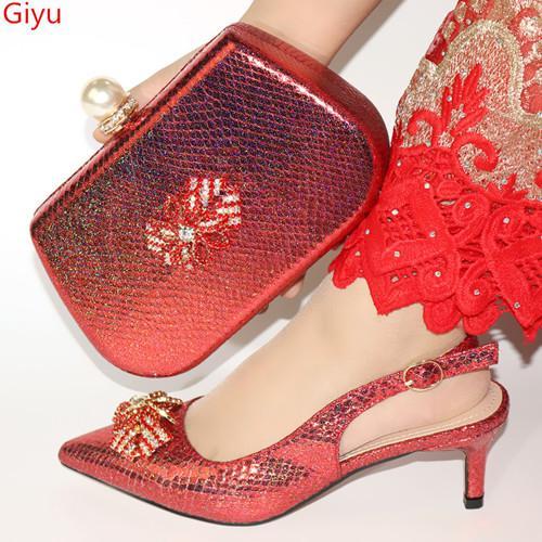 Zapatos a juego y zapatos italianos boda y juego de bolsa de Italia Bolsa para calzado Conjunto africano y bolso de verano fijaron a las mujeres HH1-7