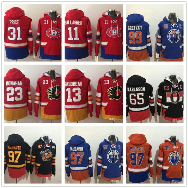 reputable site 619af 63fd1 2019 Cheap Jersey 29 Leon Draisaitl 13 Johnny Gaudreau 11 Brendan Gallagher  16 Mitchell Marner 65 Erik Karlsson Hoodies Stitched Sweatshirt From ...