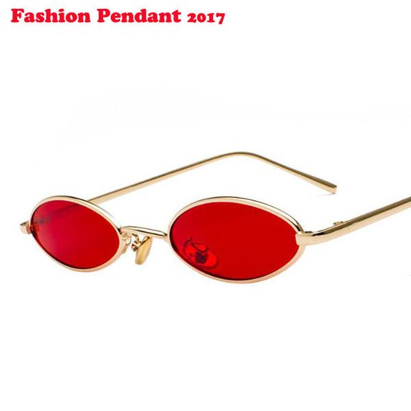 a9b4d5742 Pequeno Oval Óculos De Sol para homens Masculino retro Metal frame amarelo  vermelho do vintage pequeno