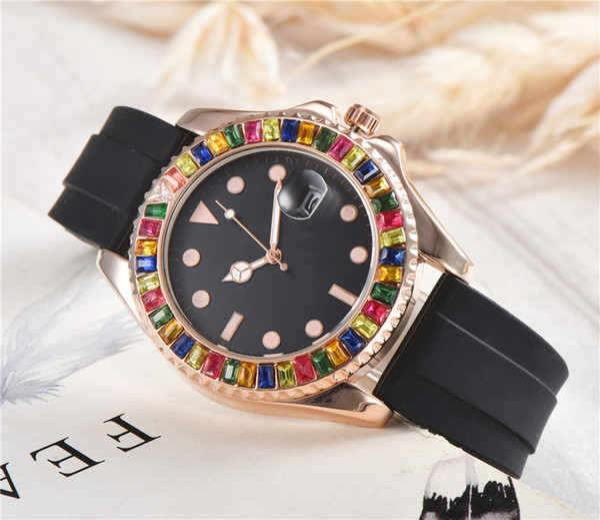 Colorful diamond luxury watch mens watches Quartz movement Wristwatches 42mm mens designer watches Silicone strap de luxe