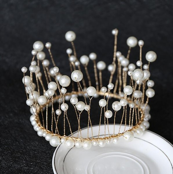 Crown Cake Topper Decoration - Imitation Pearl Royal Centerpiece for Birthday Wedding Bridal Baby Shower Prom Prince Princess