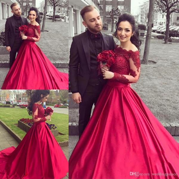 Lange Ärmel Rote Ballkleid Brautkleider Satin Spitze Reißverschluss Zurück Bodenlangen Abendkleider Kleider Party Prom Kleider