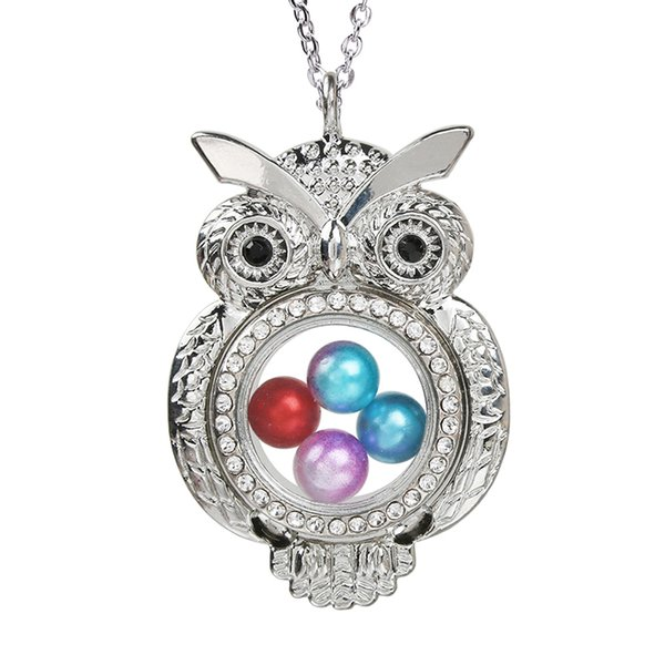 Silver Plated Owl Magnetic Open Locket Pearl Cage Pendant Living Memory Jewelry Floating Women Necklace With Chain for DIY Making