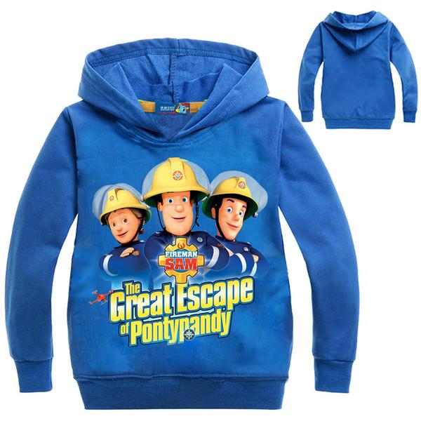 Fireman Sam capuz Bebés Meninos Designer Hoodies top Moda Infantil Crianças 3d Hoodies Suéter Preto Amarelo Azul
