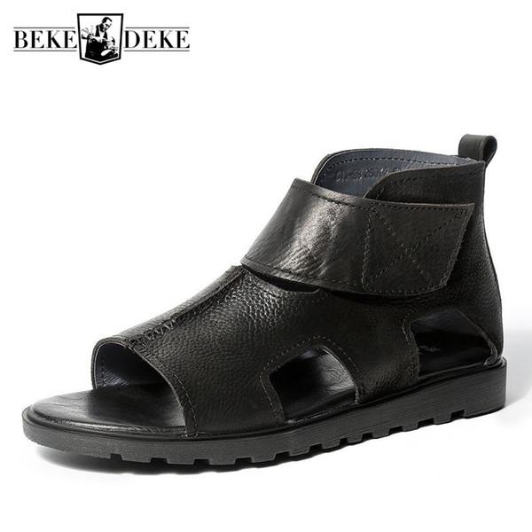 Sommer Vintage Echtleder Sandalen Männer Britische Atmungsaktive Teenager Luxus Plattform Gladiator Sandalen Stiefeletten Strand Schuhe