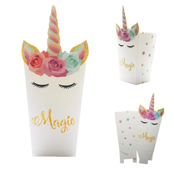 Unicornio Rainbow Popcorn Box Artículos de fiesta Decoración Papery Blanco Cinco en punta Conveniente Portátil Niños Snacks Cajas 6 5cyD1