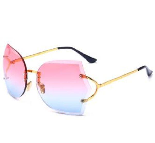 Nuevas gafas de sol sin bordes Tendencias europeas y americanas Gafas de sol grandes de montura individual Gafas de cambio gradual descoloridas de moda