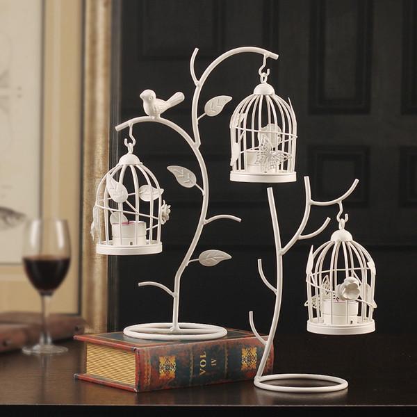 Cage à oiseaux chandelier style européen Direction bougeoirs fer art décoration de la maison salon artisanat nouveau style vente directe d'usine