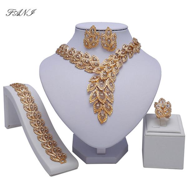 Fani Braut Geschenk Nigerianerin Hochzeit Afrikanische Perlen Schmuck Set Marke Dubai Gold Bunte Schmuck Sets Großhandel Design
