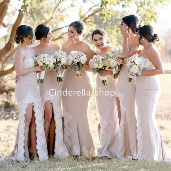 Sweetheart Country Mermaid Bridesmaid Dresses With Side Slit Long Wedding Party Dresses Plus Size Lace Appliques Maid Of Honor Gowns 2019