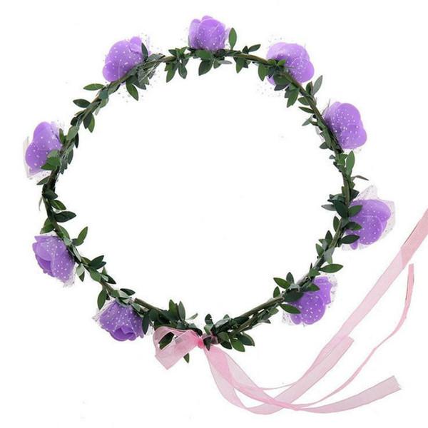 Wholesale price Rose Flower Crown Headband Wreath Party Wedding Bridal Hairband Headwear Hair Accessories Prom Head Wrap Girls Gift