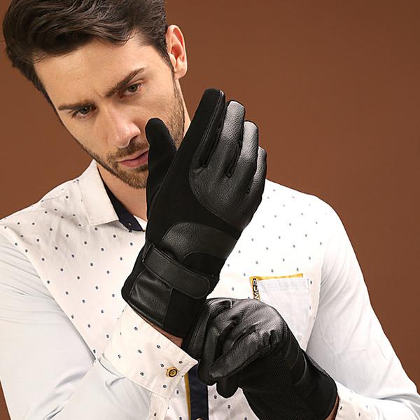 Ambientazione esterna guanti caldi in pelle ispessita PU inverno degli uomini antisdrucciolevoli Touch Screen Gloves leren handschoenen guantes hombre rekawiczki