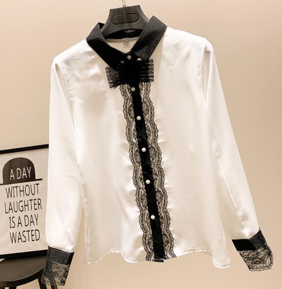 Camisa de temperamento 2019 primavera nuevas mujeres salvaje delgado gasa camisa de manga larga camisa de encaje extranjero 02