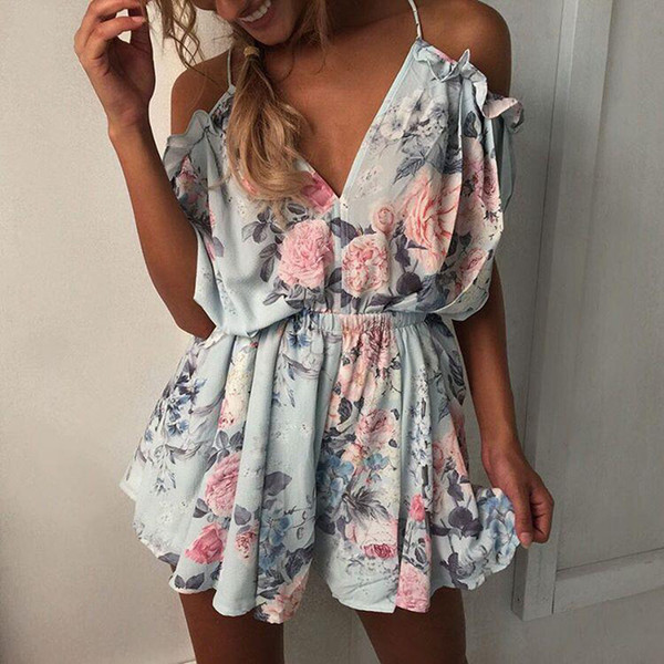 Women Rompers print lace Jumpsuit Summer Short pleated Overalls Jumpsuit Female chest wrapped strapless