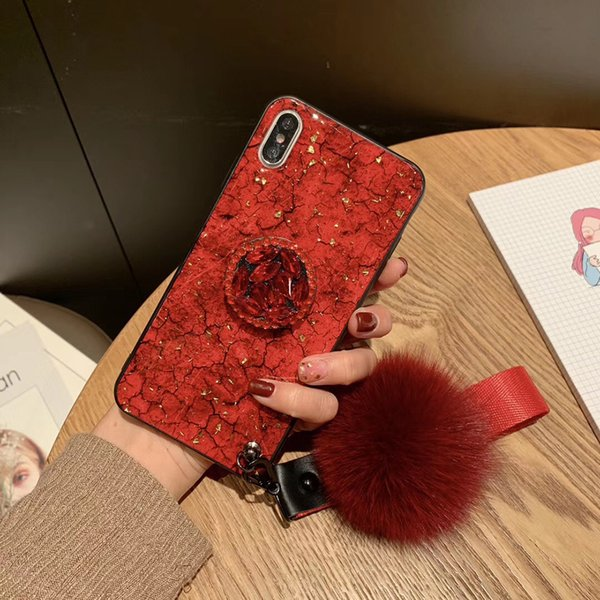 For iPhone Xs Max Case Fashion Rhinestone Marble Stripe with Hair Ball Lanyard Bracket for Samsung Note S 8 9 10 Plus Cover