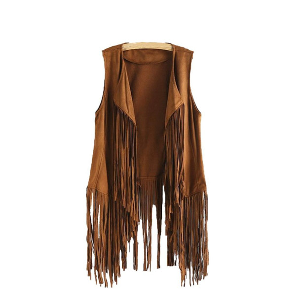 Nuove donne di arrivo in pelle di cervo con frange gilet donna autunno inverno camoscio etniche senza maniche nappe con frange gilet cardigan femminile Voat