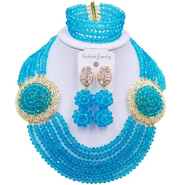 Qualified Lake Blue Crystal Women Party Beads Necklace Jewelry Sets 6C-SPH-13