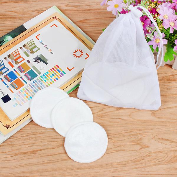 Tampons démaquillants naturels lingette lavable en fibre de bambou réutilisable lavable pour enlever le maquillage du visage et le maquillage des yeux, couleur blanc