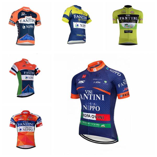 FANTINI team Mens jersey de cyclisme Polyester Vêtements de sport d'équitation été Manches courtes Respirant Séchage rapide tops Q73105