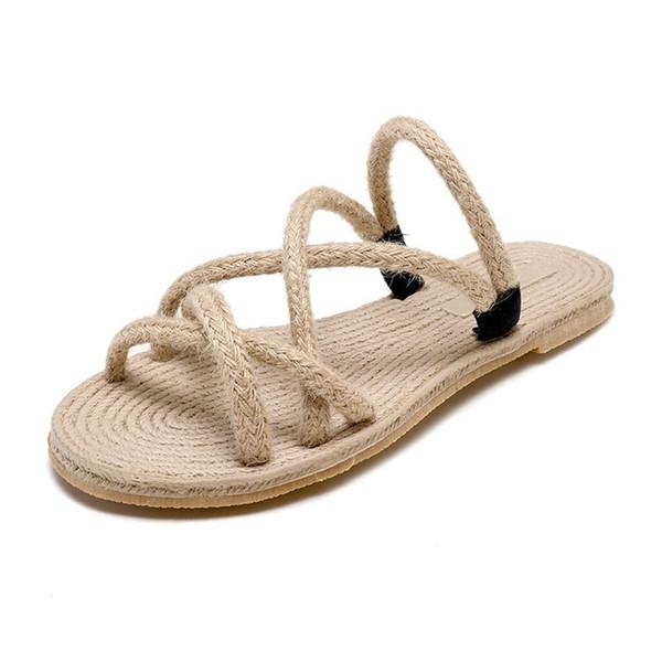 Venta caliente: sandalias de diseñador zapatillas de mujer sandalias de lino moda zapatillas de lujo zapatos de paja de imitación zapatos de playa