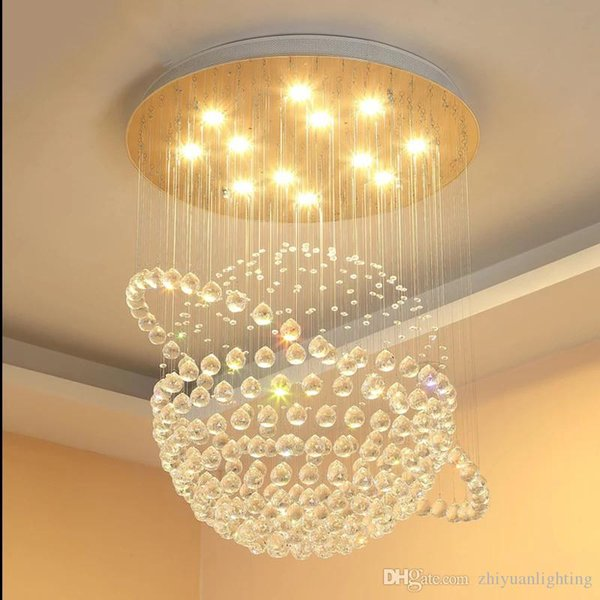 Contemporary round K9 crystal chandeliers raindrop flush ceiling light stair pendant lights fixtures hotel villa crystal ball shape lamp