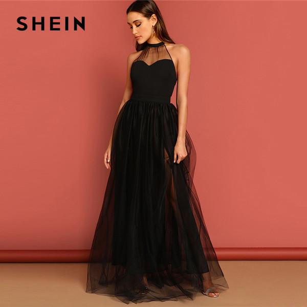30d7382c87 SHEIN Black M-slit Mesh Overlay Halter Sheath Dress Elegant Plain Round  Neck Sleeveless Tank