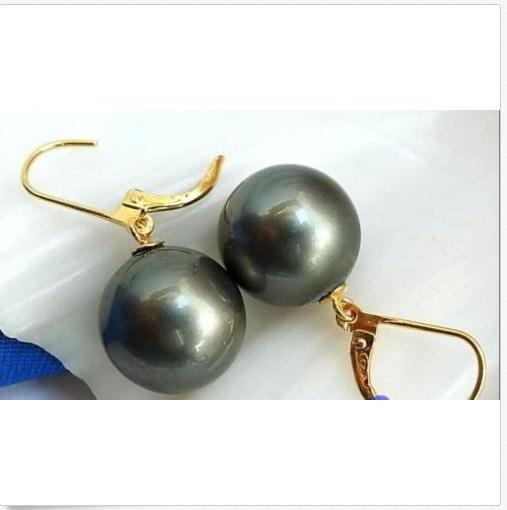 Incantevole round PAIR OF 10-11MM tahitian black green pearl orecchino 14k