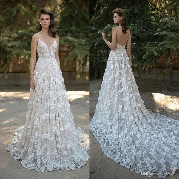 Amazing Berta Mermaid Lace Wedding Dresses Spaghetti Straps V Neck Backless Bridal Gowns 3D Appliqued Sweep Train Beaded Vestidos De Noiva