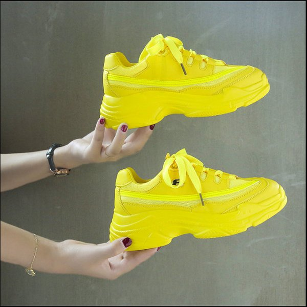 2019 Autumn Candy Color Platform Women Sneakers Yellow Green Orange Casual Shoes Women Thick Sole Designer Tennis Chunky Shoes Basket Femme