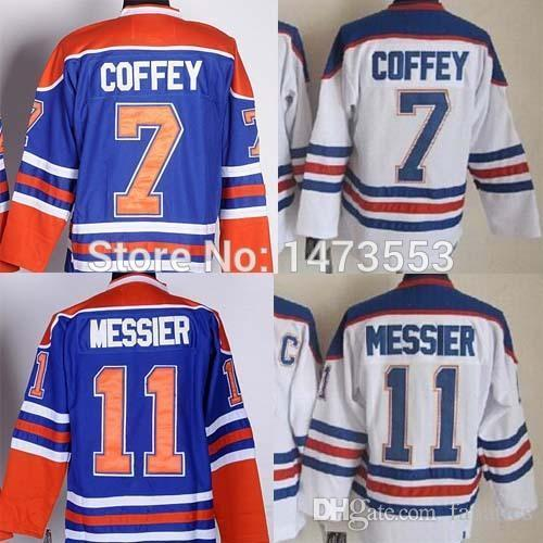 61891e41 Edmonton #11 Mark Messier Vintage Jersey, #7 Paul Coffey Throwback Hockey  Jerseys, Free Shipping Blue Home White Color, M-3XL