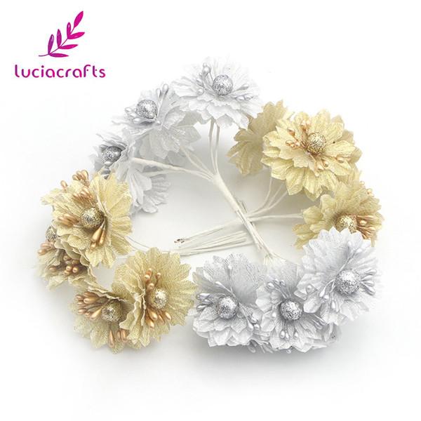 Lucia crafts 6pcs/lot 50mm Golden/Silver Silk Cloth Artificial Flower Bouquet For DIY Wedding Home Scrapbook Decor 027033033
