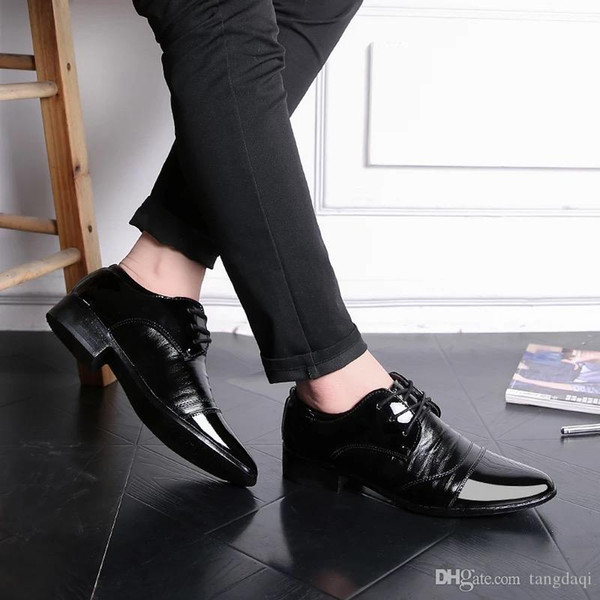 Smooth suit male spring summer autumn black men's shoes British business youth leisure shoes men's shoes tip