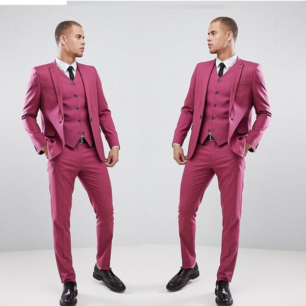 Men's Notched Lapel Wedding Suits Evening Party Prom Custom Made Slim Fit 3 Pieces Best Man Tuxedos