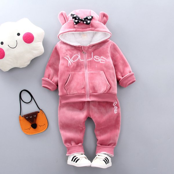 Girls Clothes Sets Autumn Winter Children Fashion Thick Velvet Hoodies+Pants 2pcs Tracksuits For Baby Girls Kids Warm Outfits Christmas Suit