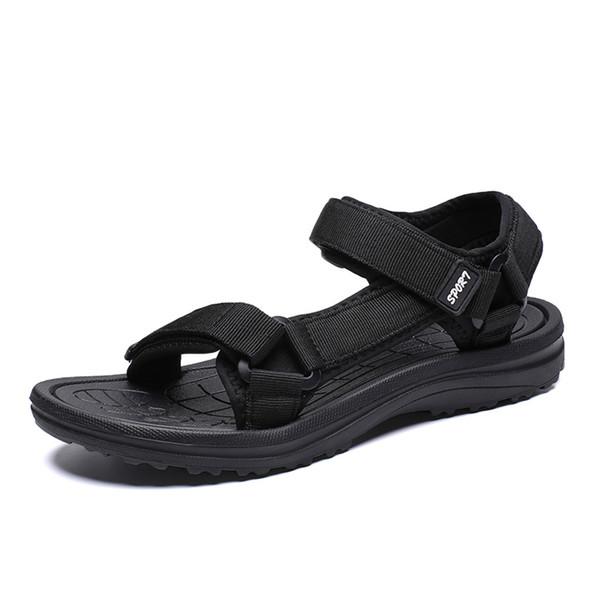 Estate casual stile estate all'aperto mens appartamenti casual spiaggia scarpe da ginnastica traspirante sport cuoio Pu HookLoop sandali