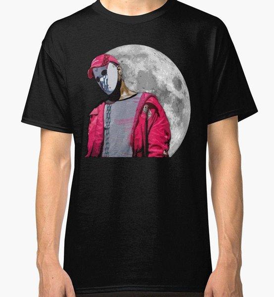 Ay Kayak Maskesi Slump Tanrı Erkekler Siyah Tshirt Boyut S-2XL