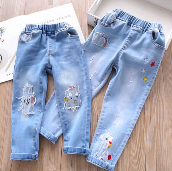 Kids hole unicorn jeans 2019 Spring girls rainbow stars embroidery denim pants children double pocket elastic cowboy trouser F4410