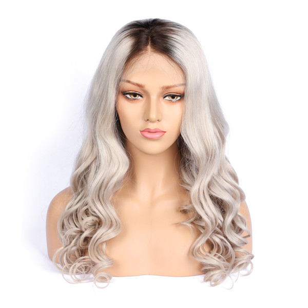 Cosplay unprocessed dark root light grey virgin remy human hair long sexy new grey big curly full front lace wig for girl