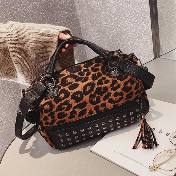 Leopard Totes Handbags Women Velour Shoulder Bags Rivet Fashion 2019 Crossbody Bags New Zipper High Capacity Hand Strap Handbags