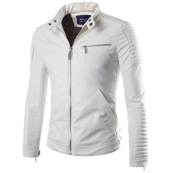 Erkekler 2016 Sonbahar Kış Motosiklet Ceket Erkek Şık Slim Fit Ceket Veste Cuir Homme XXL için Toptan Lüks Pu Deri Ceket