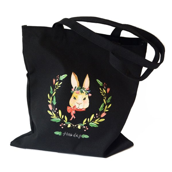 Lovely Girls Style Handbag Cute Floral Bunny Printed White Black Colors Durable Canvas Bag School Travel Daily Office Casual Use